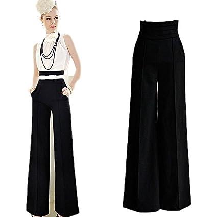 2fe621603 Pantalones de moda de cintura alta y pierna ancha para mujer para trabajo