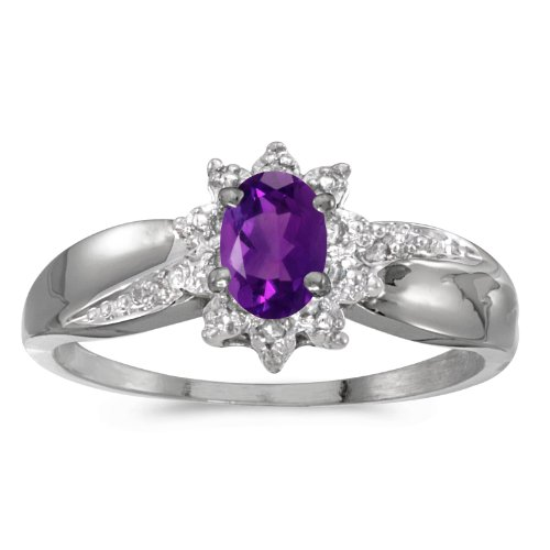 (Jewels By Lux 10k White Gold Genuine Purple Birthstone Solitaire Oval Amethyst And Diamond Wedding Engagement Ring - Size 6.5 (1/3 Cttw.))