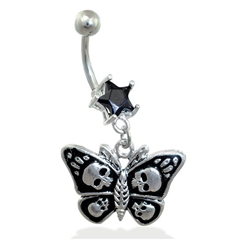 Butterfly Belly Ring Black (MsPiercing Jeweled Star Navel Ring With Dangling Skull Butterfly, Black)