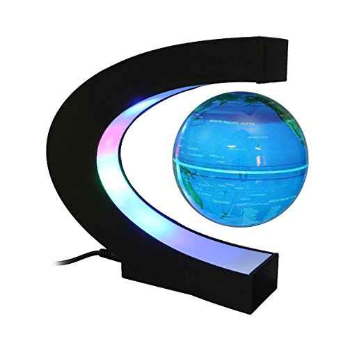 Floating Desktop Globe (Magnetic Levitation Floating World Map Globe Office Decor LED Learning Educational Geographic Political Globeswith Funny C Shape Desktop Stand for Home School Desk Decoration Gift)