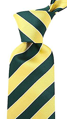 College Striped Ties for Men - Woven Necktie - Green w/Yellow