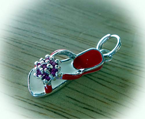 1 Sterling Silver 3D 20x7mm Red Crystals & Enamel Sandal Shoe Charm Vintage Crafting Pendant Jewelry Making Supplies - DIY for Necklace Bracelet Accessories by CharmingSS ()