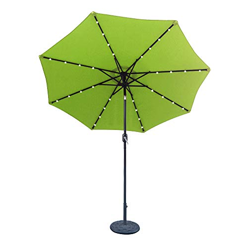 ABCCANOPY 9 FT Solar Powered Patio Umbrella 32LED Lights Solar Umbrella with Tilt and Crank (Lime Green)