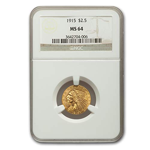 1915 $2.50 Indian Gold Quarter Eagle MS-64 NGC $2.50 MS-64 NGC