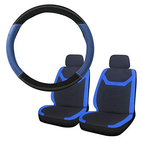 UKB4C Blue & Black Steering Wheel & Front Seat Cover set for Saab 900 All Models: