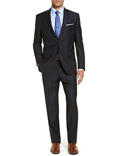 Tone Stripe Mens Suit (Luciano Natazzi Men's Modern Fit Two Button Faint Tone On Tone Stripe Black Suit (40 Short US / 50 Short EU))