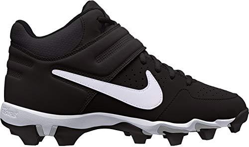 Nike Boy's Alpha Huarache Varsity Mid Keystone Baseball Cleat (5.5 Big Kid M, Black/White/Black) (Baseball Cleats Boys Nike)