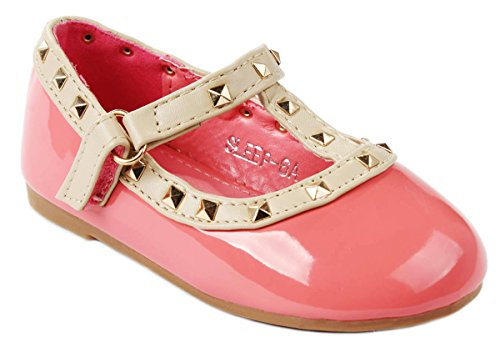l T-Strap Rivet Studded Mary Jane Infant Toddler Ballet Flat Dress Shoes-8 (Coral Dress Shoes)