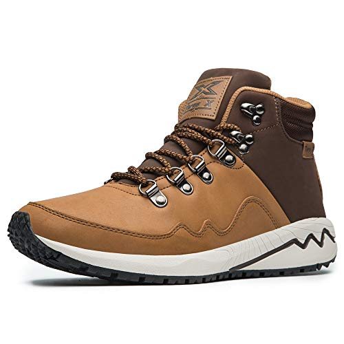 Men's Work Boots Construction Shoes Leather Outdoor Shoes (8.5, Brown)