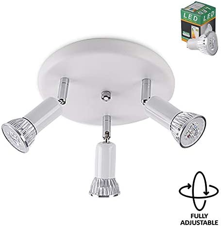Ristorante plafoniera da Bagno a LED Regolabile a Gabbia in Metallo per Cucina Camera da Letto,Silver lampadine IP44 Impermeabili 9W GU10 LYCG Faretto a soffitto a Piastra Rotonda White