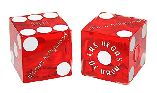Pair (2) PLANET HOLLYWOOD CASINO Las Vegas 19mm Red Dice Table - Planet Las Hollywood Stores Vegas