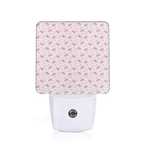Toys LED Night Light Teddy Bear with Squares Hearts and Blooming Flowers Pastel Colored Illustration Pale Pink Purple Decorative Night Light