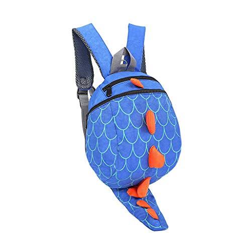 School Bag Kids Toddlers Kids Boys Girls Animal Dinosaur Backpack with Safety Leash Rucksack (blue)