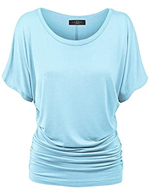 Made By Johnny Women's Solid Short Sleeve Boat Neck V Neck Dolman Top with Side Shirring-Made in U.S.A. …