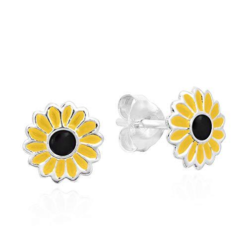 (Petite Yellow Enamel Sunflower .925 Sterling Silver Stud Earrings)