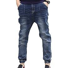Liveinu Men's Denim Jean Drop Crotch Harem Jogger Pants