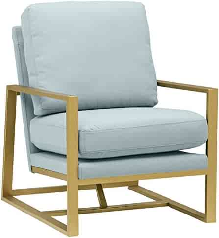 Rivet Charlotte Modern Brass Accent Chair, Light Blue