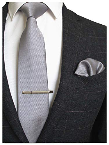 JEMYGINS Solid Color Formal Necktie and Pocket Square Tie Clip Sets for Men - Silk Gray Tie
