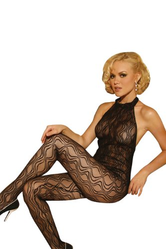 a03ed6eb254 Elegant Moments Women s Swirl Lace Halter Bodystocking with Open Crotch