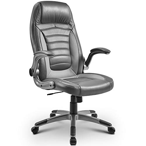 Merax Comfy Office Chair Ergonomic Computer Chair High-Back Executive Chair Height Adjustment Gaming Recliner Chair Support 300Lb Modern Desk Chair Gray