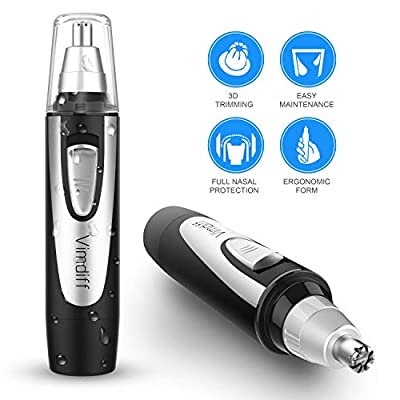 2018 Professional Nose Ear Hair Trimmer for Men Women, Electric Nostril Nasal Hair Clippers Trimmers Remover with Vacuum Cleaning System, IPX7 Waterproof, Mute Motor, Wet/Dry, Battery-Operated