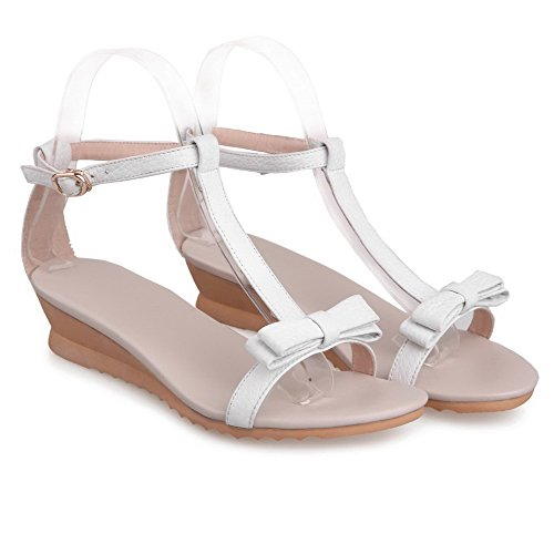 VogueZone009 Womens Open Toe Low Heel Wedges Cow Leather Solid Sandals with Bowknot and T-strap, White, 7 B(M) US