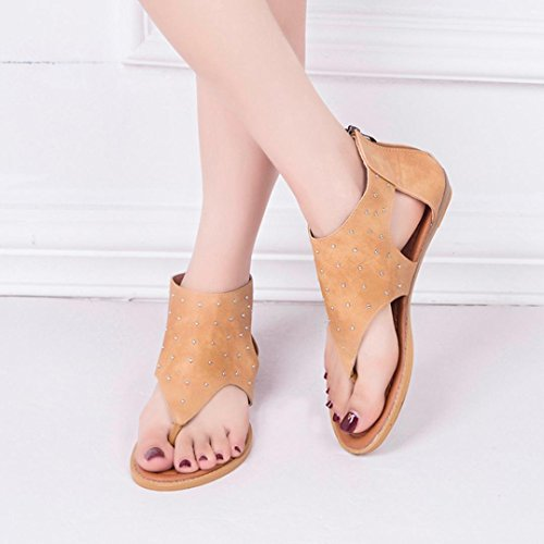 Moda Verano Las Bailarinas Chanclas C Remache ASHOP Planas Mujer de de Bohemia Zapatillas Cuero y De Sandalias Cordones Gladiador Playa Zapatos Sandalias q7wwxBzft