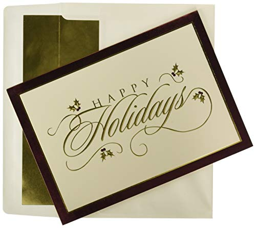Masterpiece Holiday Collection 16-Count Christmas Cards with Foil Lined Envelopes, Classic Greetings ()