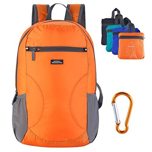 Metrekey Lightweight Packable Backpack Water Resistant Hiking Daypack Outdoor Foldable Handy Travel Bags Orange