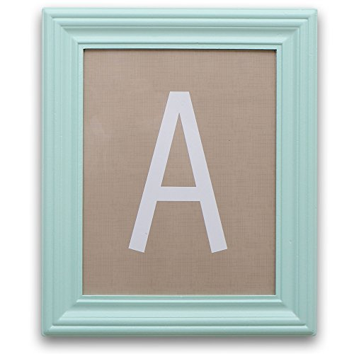Aqua Framed White on Taupe Hanging Wall Letters, All 26 Letters Included by The Peanut Shell