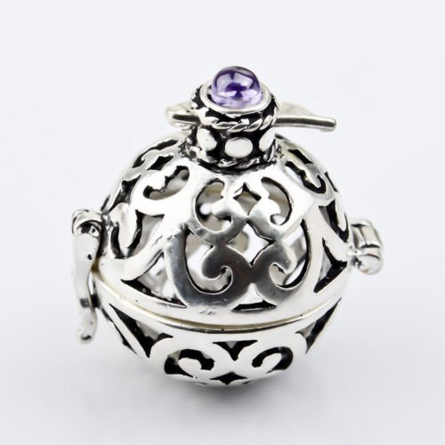Ddang - Silver Jingle Chime Bell Harmony Ball Locket Pendant Amethyst Top Angel Caller JEW 0226