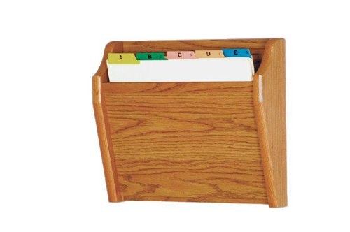 Wooden Mallet Tapered Bottom File Holder, Letter Size, Medium Oak