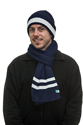 Men's Two-Toned 3M Fleece Thinsulate Ribbed Knit Scarf and Hat Set NavyWhite