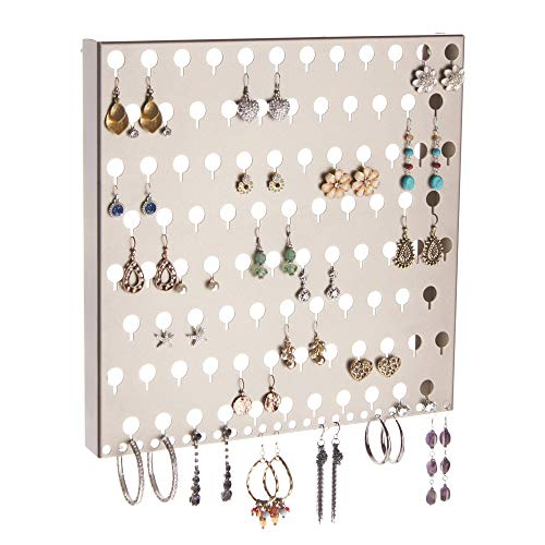 Angelynn's Stud Earring Holder Organizer Wall Mount Hanging Closet Jewelry Storage Rack, Sariea Satin Nickel Silver