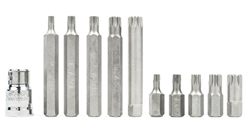 Bastex 11 piece Triple Square Socket Spline Bit 12 Point Set, CrV Steel by Bastex (Image #3)