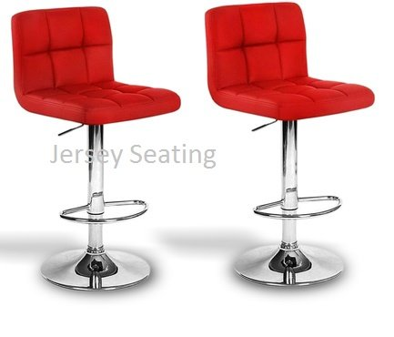 2 x PU Leather Hydraulic Lift Adjustable Counter Bar Stool Dining Chair Red -Pack of 2 (150) Made By jersey seating®