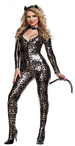 Girls/womens Sexy Leopard Leather Cat Hallowmas Costume Catwoman Bodysuit-Medium