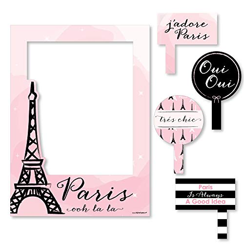 Big Dot of Happiness Paris, Ooh La La - Paris Themed Party Selfie Photo Booth Picture Frame and Props - Printed on Sturdy Material]()