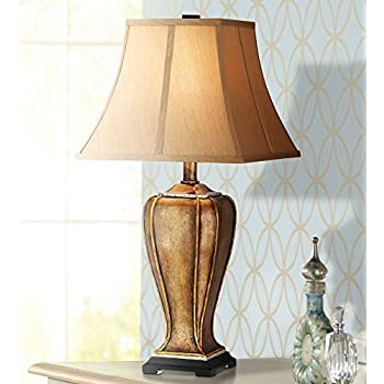 Traditional table lamp urn two tone bronze off white bell - Traditional table lamps for bedroom ...