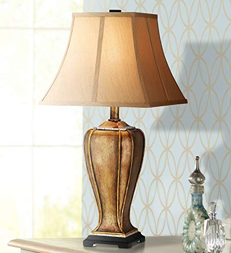 Traditional Table Lamp Hand Painted Golden Copper Stippled Faux Silk Square Bell Shade for Living Room Family Bedroom Nightstand - Regency Hill