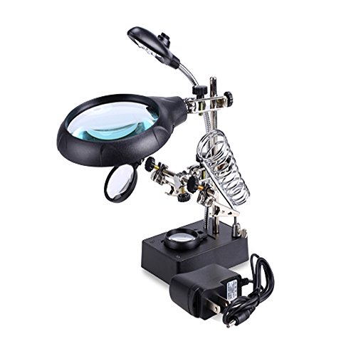 Cheesea 3rd Helping Hand Magnifier Tool New LED Light Practical Desktop and Adjustable Alligator Clip for Magnifier Welding Magnifying - Square Las Town Vegas