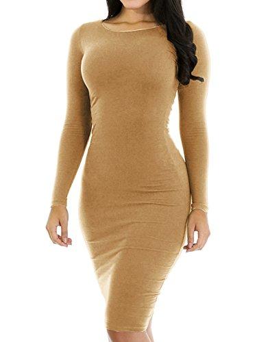 Haola Women's Sexy Casual Long Sleeve Short Dress Slim Party Club Mini Dress M Khaki (Sexy Khaki Club Dress)