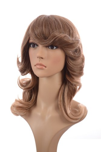 [Ombre 70's Inspired Wig | Flicked Curl Hairstyle | Charlies Angels Hairstyle Wigs] (Farrah Fawcett Wig)