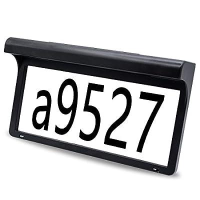 LeiDrail Solar Lighted Address Sign Custom Mailbox House Numbers Plaque Outdoor Waterproof Wall Art Home Garden Address Light LED Metal Doorplate