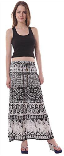 Faldas y bufandas rayón impreso de la mujer largo/Maxi/Gypsy Falda Black & White 2