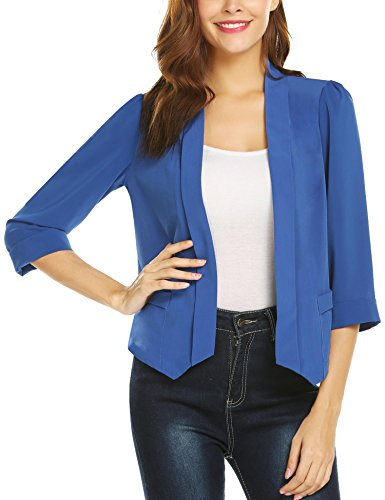 Dealwell Womens Work Office 3/4 Shawl Collar Sleeve Open Front Solid Blazer 3/4 Sleeve Shawl Collar