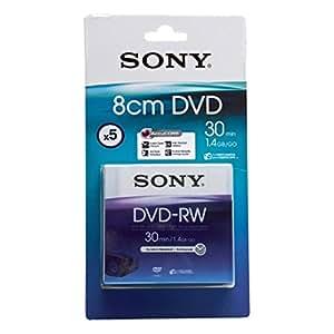 Sony Blister pack of 5 DVD-RW 1.4GB 1.4GB DVD-RW 5pieza(s) - DVD+RW vírgenes (1,4 GB, DVD-RW, 5 pieza(s), 30 min, 0,74 µm, 1,2 mm)