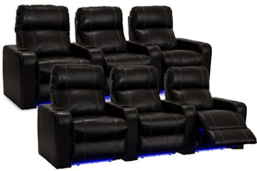 (Seatcraft 227E511613R3R3LED-V2 Dynasty Recliners, 2 Rows of 3 + Baselights, Black)