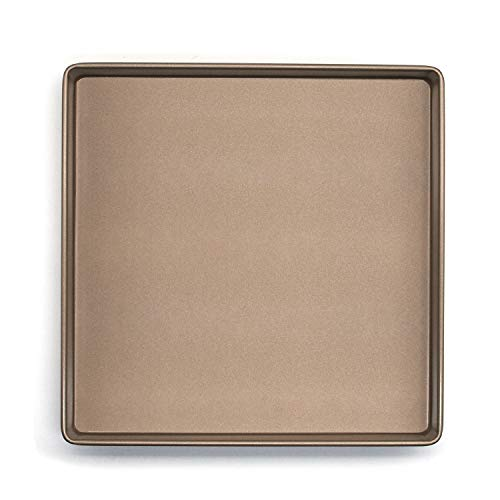 - 11 Inches Non-stick Square Cake Pan, High Carbon Steel Brownie Baking Pan, Square Cookie Sheet, Baking Tray - Gold, 11.2