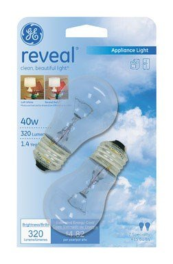 Reveal Reveal Appliance Light Bulb 40 W 320 Lumens Med Base Clear Carded Pack / (Clear Incandescent Carded Light Bulb)